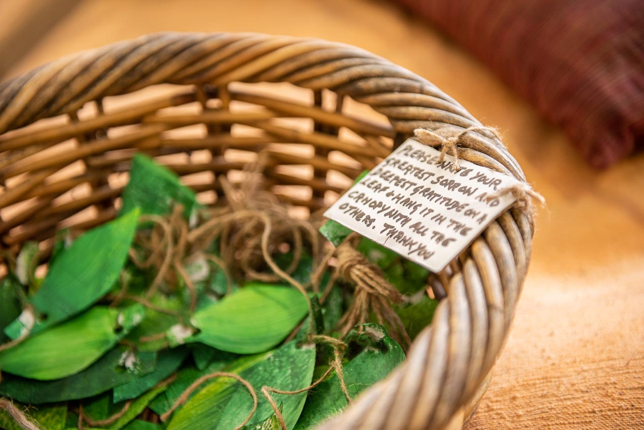Paper leaves in a basket.