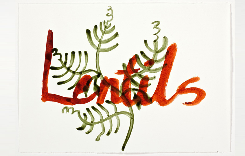 """Artwork with green leaves and the word """"lentils"""" in red."""