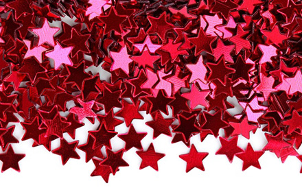 Image shows red star shaped sequins