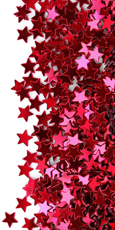 Image shows red star shaped sequins.