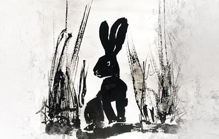 Image shows a charcoal drawing of a bunny sitting amongst foliage.